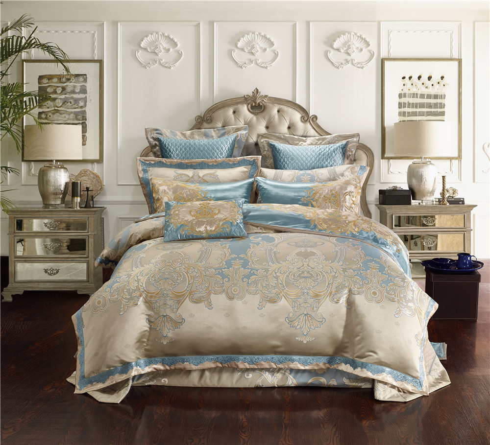 Jacquard Silk Cotton Luxury Bedding Sets King Size Queen Size 4/6/10Pcs Bed Set Duvet Cover Cotton Flat Bed Sheet Set Pillowcase
