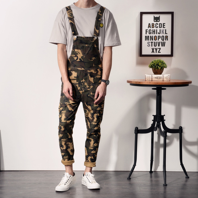 2019 New Fashion Camouflage Design Jeans Denim Overalls Men Casual Wash Skinny Bib Overalls Jeans Male Jumpsuit Jean Pant