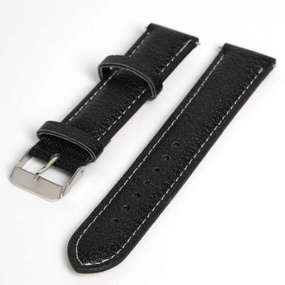 Hot New Arrival Soft Buffalo Grain PU Leather Men Women Watch Band Strap Buckle Bracelet Watchbands 16mm & 20mm 5 Colors