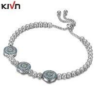 Womens Fashion Jewelry Adjustable Blue Eye CZ Cubic Zirconia Tennis Charm Girls Wedding Bridal Bracelets Promotion