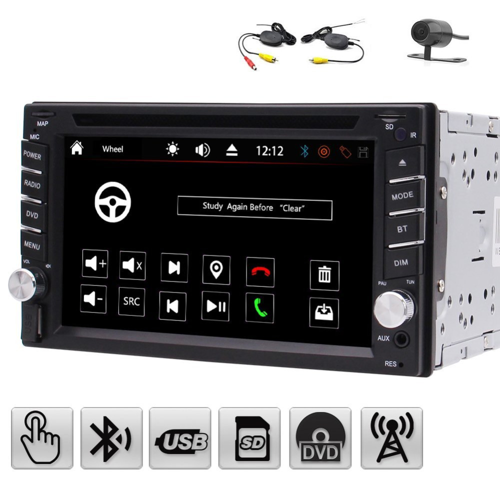 EinCar UI 6.2'' HD Double 2 Din Car Stereo System Automotive DVD Player in Dash Radio Hands-free Bluetooth USB SD MP3 Player rs 1010bt car bluetooth hands free stereo mp3 player