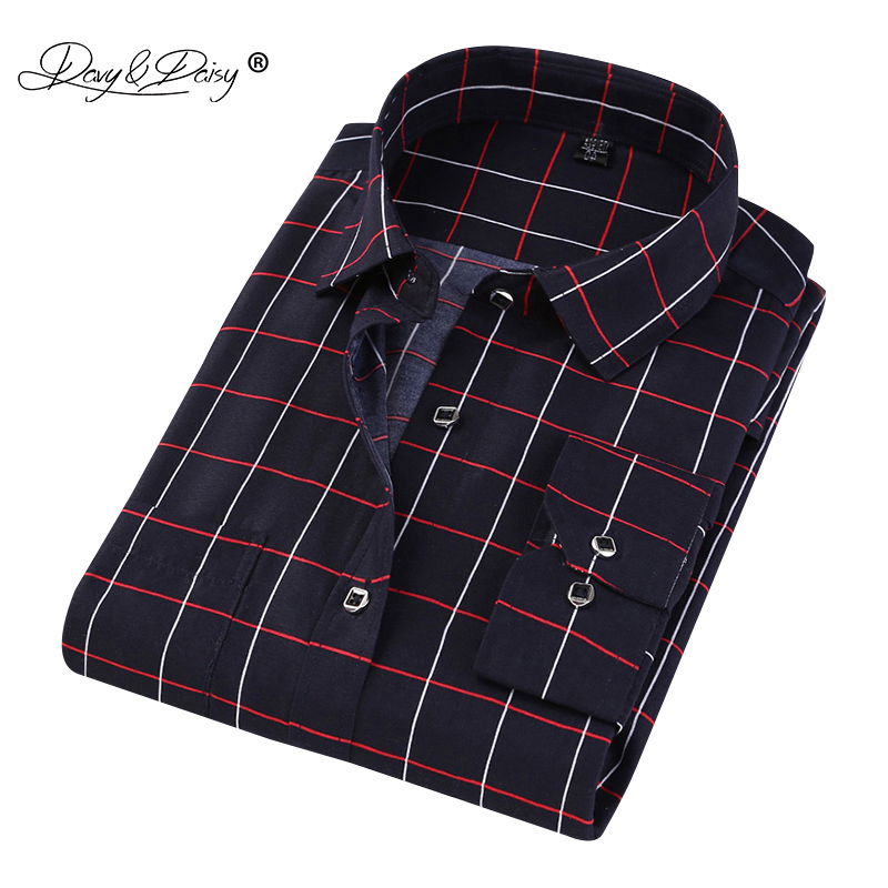 DAVYDAISY 2019 New Arrival Men Shirt Long Sleeved Fashion Plaid Floral Printed  Brand Clothing Casual Shirt Man Soft DS272