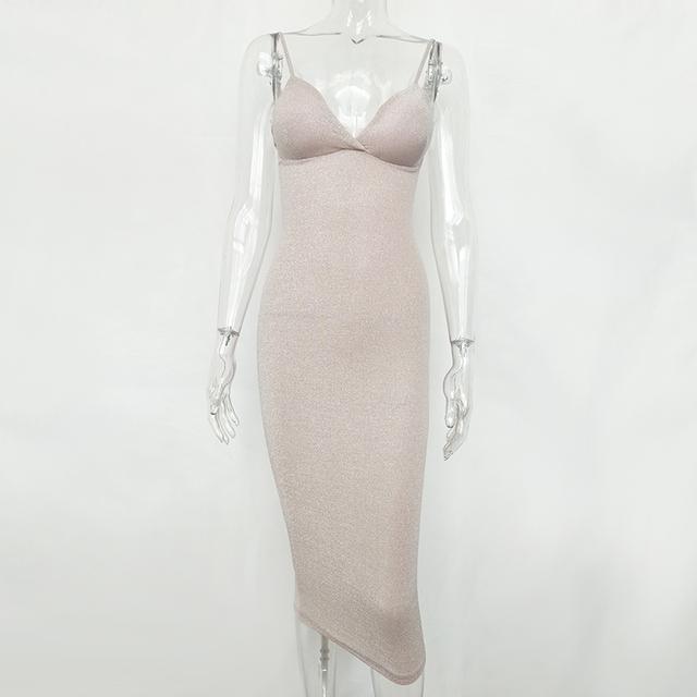 Spaghetti strap deep v-neck white midi dress