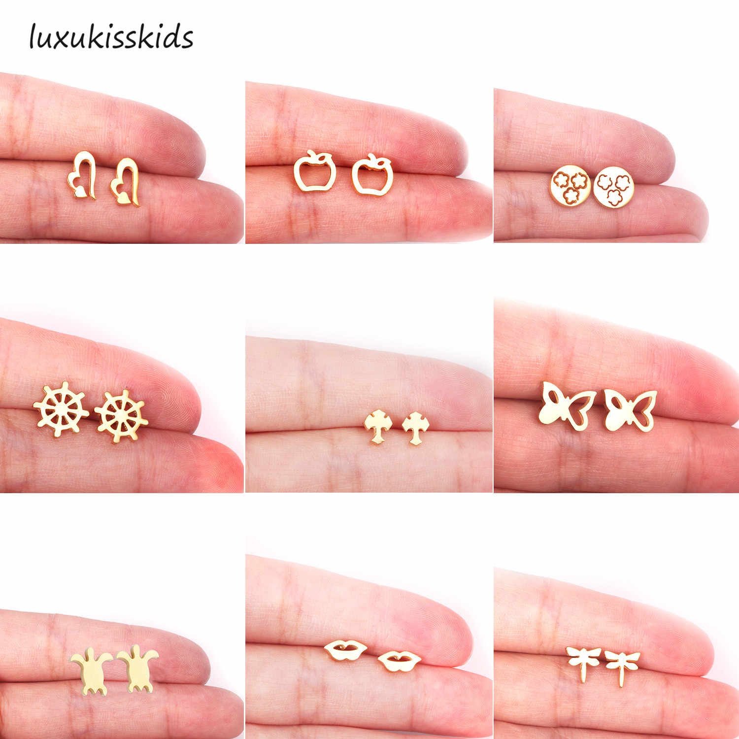 LUXUKISSKIDS Top 316L Stainless Steel Small Stud Earrings Set Jewelry Gold Silver Stud Earring For Women/Girl/Men Gift