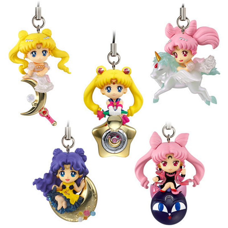 Hot Anime Sailor Moon Twinkle Dolly Part III Phone Strap Charm Figure 5pcs/Set Gift Collection No Retail Box anime pocket monster sailor moon totoro zootopia etc jewelry cell phone drawstring pouch wedding party gift bag draph variety