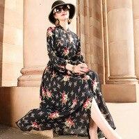 2018 Summer Long Dress Floral Print Boho Silk Dresses Tunic Maxi Dress Women Evening High End Party Dresses