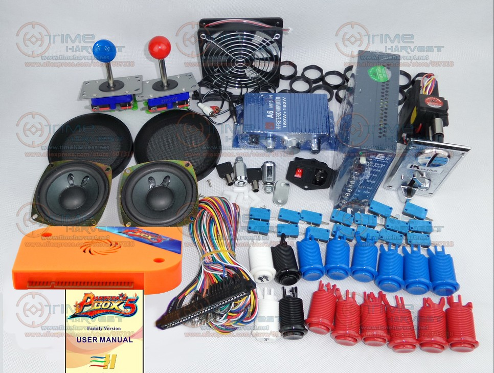 Arcade parts Bundles kit with Pandora Box 5 upgrade version VGA & HDMI output American Style Joystick Button Coin mech Fan Net usb flash drive 16gb iconik овечка rb sheepi 16gb