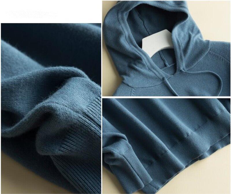 GCAROL Fall Winter Girls Knit Pullover 30% Wool Hooded Sweater High Street Candy Women Render Knit Jumper Knitwear 26