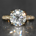 4 Carat ct F Color Engagement Wedding Lab Grown Moissanite Diamond Ring With Real Diamond Accents Genuine 14K 585 Yellow Gold