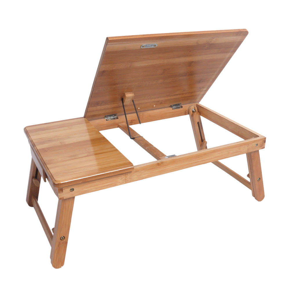 53cm Trendy Adjustable Bamboo Computer Desk Wood Color