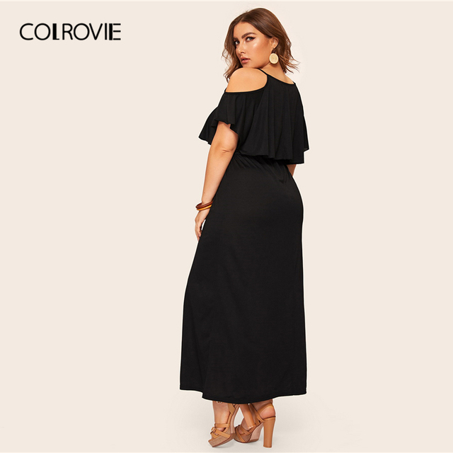 COLROVIE Plus Size Cold Shoulder Solid Maxi Dress Women 2019 Summer Casual Short Sleeve High Waist Elegant Office Ladies Dresses 1