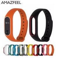 AMAZFEEL 10Pcs Lot Silicon Replacement Double Color Wrist Strap For Mi Band 2 Xiaomi Mi Band