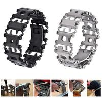 29 in 1 Stainless Steel Multifunctional Chain Bracelets Outdoor Emergency Bolt Driver Tools Kit Travel Wearable Bracelet Tool