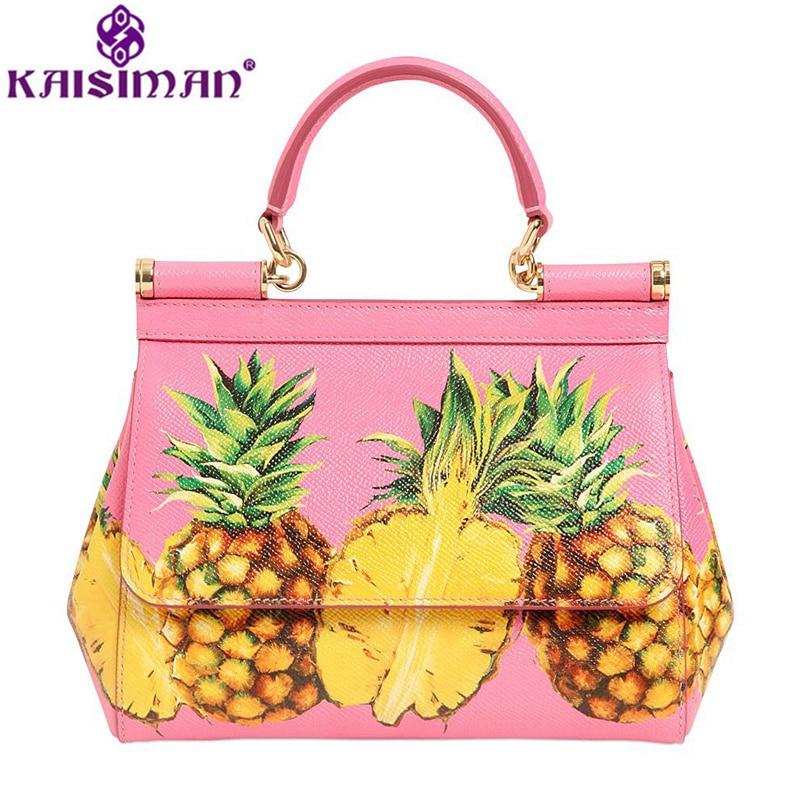 Luxury Brand 2018 Fashion Pimeapple Printing Famous Designer Handbags Women Genuine Leather Tote Bag Ladies Cowhide Shoulder Bag