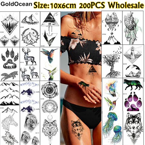 goldocean 200 pecas atacado tatuagem temporaria etiqueta 10x6cm falso triangulo flor animal tatoo men women