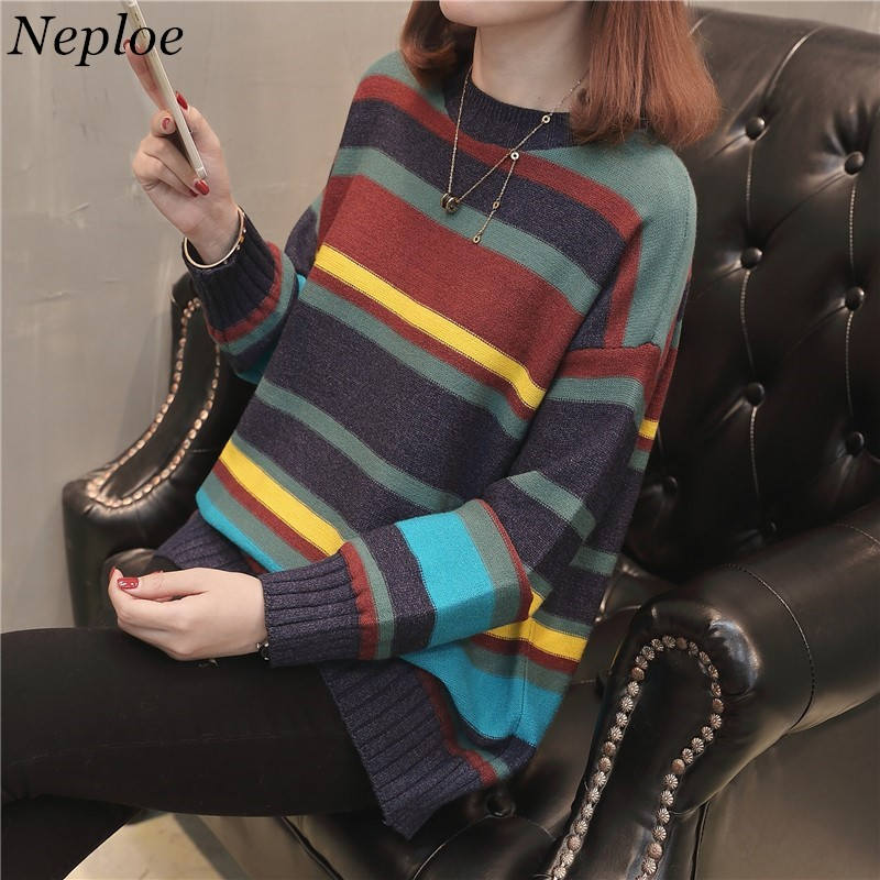 Neploe Women Sweaters Rainbow Striped Knitted Pullover Pull Femme Fashion Loose Pullovers And Sweaters Female Jumper Tops 36014