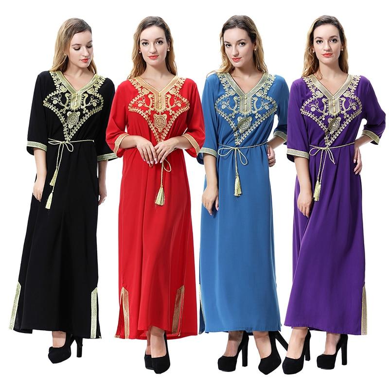 Plus Size 3XL Malaysia Abaya Caftan Muslim Middle Sleeve Dress Women Embroidery Islamic Clothing Turkey Robe Musulmane Dresses