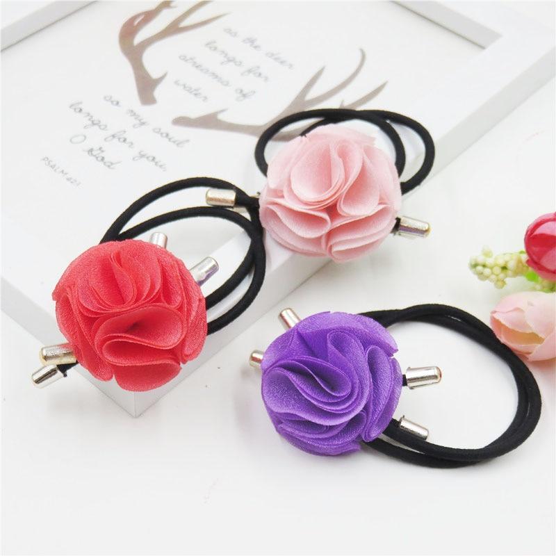 10PCS/LOT Big Cloth Flower Elastic Hair Bands For Girl Bohemian Headband Scrunchy Korean Fashion Kids Hair Accessories For Women