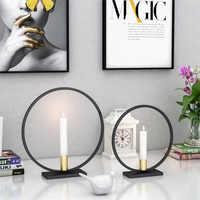 Nordic Rotondo Stile Semplice Nero Candeliere Tea Luce Supporto di Candela Cena A Lume di candela Da Tavolo A Casa Decorazione di Ferro del Mestiere del Metallo