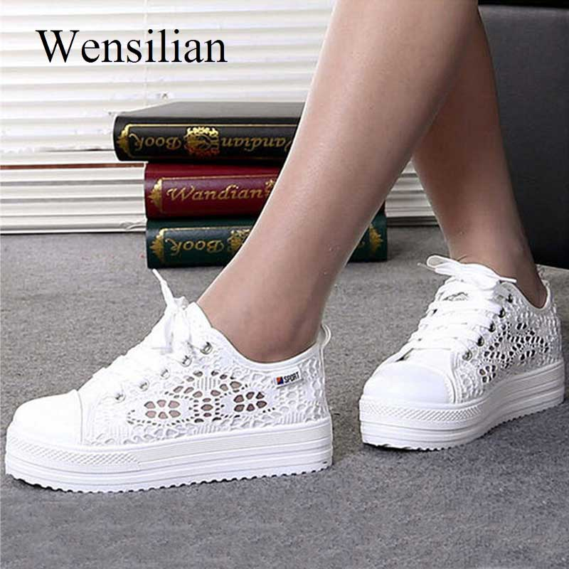 Fashion Platform Sneakers Women Vulcanize Shoes Canvas Casual Shoes Breathable Wedges Shoes For Women Trainers Tenis Feminino