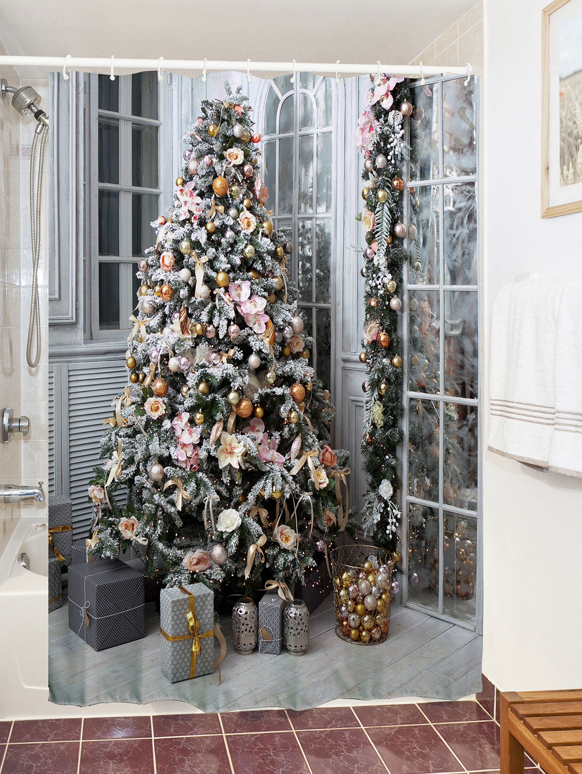 Christmas Bath Shower Curtain Tree Gift Print Waterproof Bath Curtain Polyester Christmas Tree Decor
