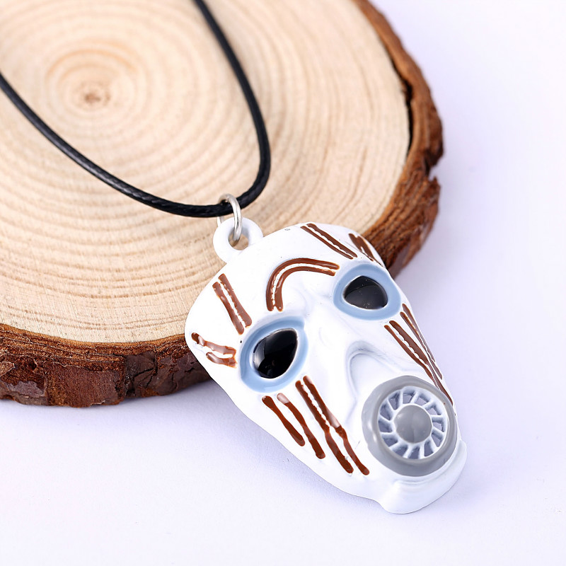 10pc/lot New Borderlands 2 Game White Mask Pendant Necklace Fashion Jewelry For Women Men Collier HC11342 image