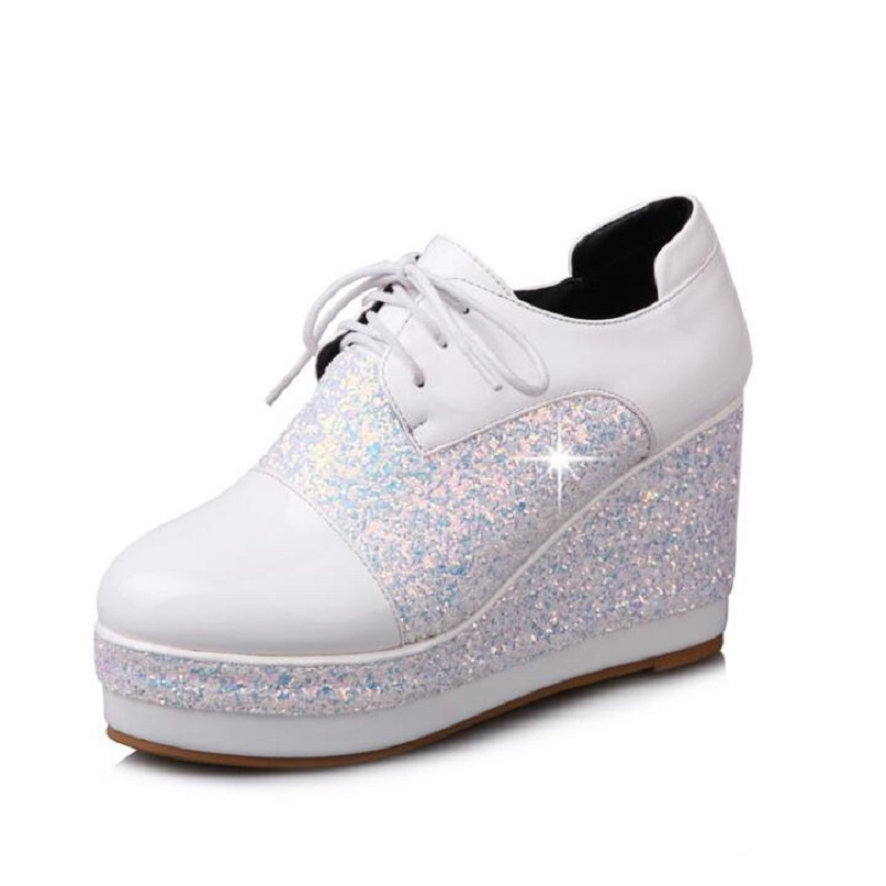 Bling Patent Leather Women Pumps Oxford Chunky Wedge Heels Lace Up Round Toe Platform Creepers Shoes Pink High Heels Shoes US 13 bling patent leather oxfords 2017 wedges gold silver platform shoes woman casual creepers pink high heels high quality hds59