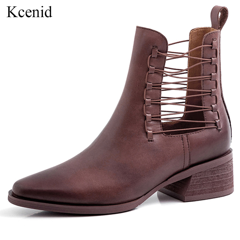 Kcenid 2019 Autumn new slip on women boots genuine leather ankle boots cut outs chunky heel vintage brush leather female shoes-in Ankle Boots from Shoes    1