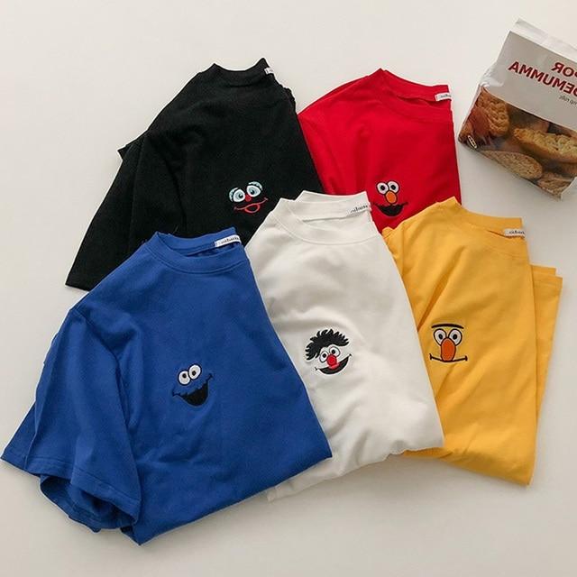 harajuku funny Cartoon embroidery t shirt Summer Short Sleeve casual loose Tshirt korean ulzzang Women T-shirts black white top