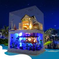 Light Hawaii Style Double Story DIY Miniature Dollhouse Doll Toy Mini Model House Home Building Children Kid Gift