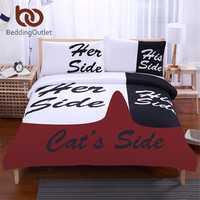 BeddingOutlet Black Bedding Set His Side Her Side Home Textiles Soft Duvet Cover And Pillowcases 3Pcs