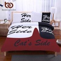 BeddingOutlet Black Bedding Set His Side Her Side Home Textiles Soft Duvet Cover And Pillowcases 3Pcs