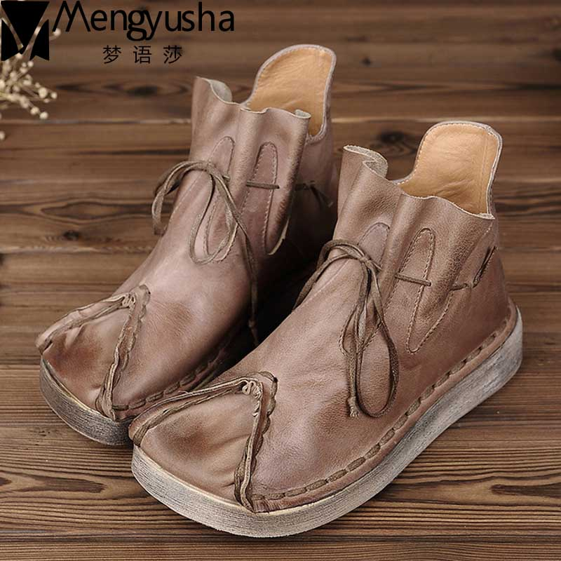 New Fashion Autumn Shoes Women Retro Boots Handmade Ankle Boots Flat Boots Real Genuine Leather Shoes Women Winter Martin Botas tastabo handmade ankle boots martin flat boots 100% real genuine leather shoes retro winter snow boots botines mujer women shoe