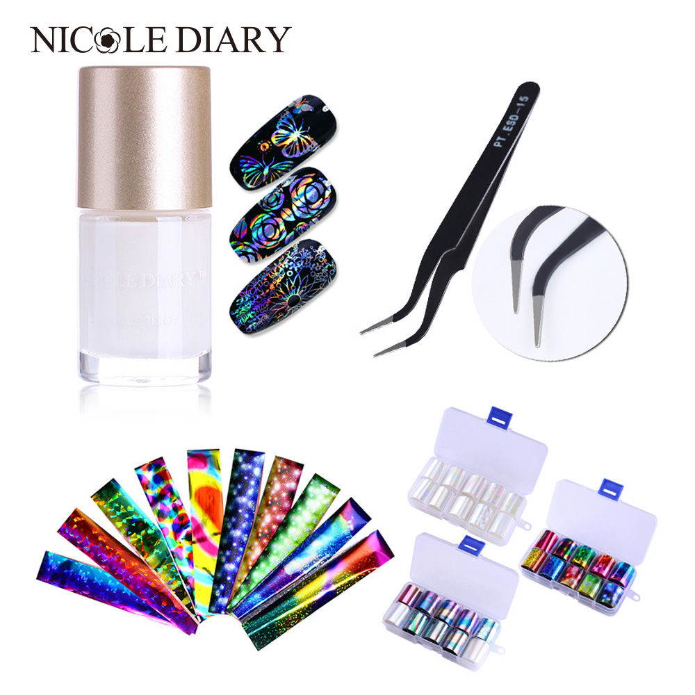 9ml Transfer Nail Foils Glue Adhesive and 1 Box 10Pcs Holographic Nail Foils Starry Sky Nail Foil Set + 1Pc Tweezer Nail Tool цена 2017
