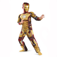 Iron Man Mark Patriot Muscle Child Kids Halloween Costume Fantasia Avengers LED Masks Superhero Cosplay Outfit