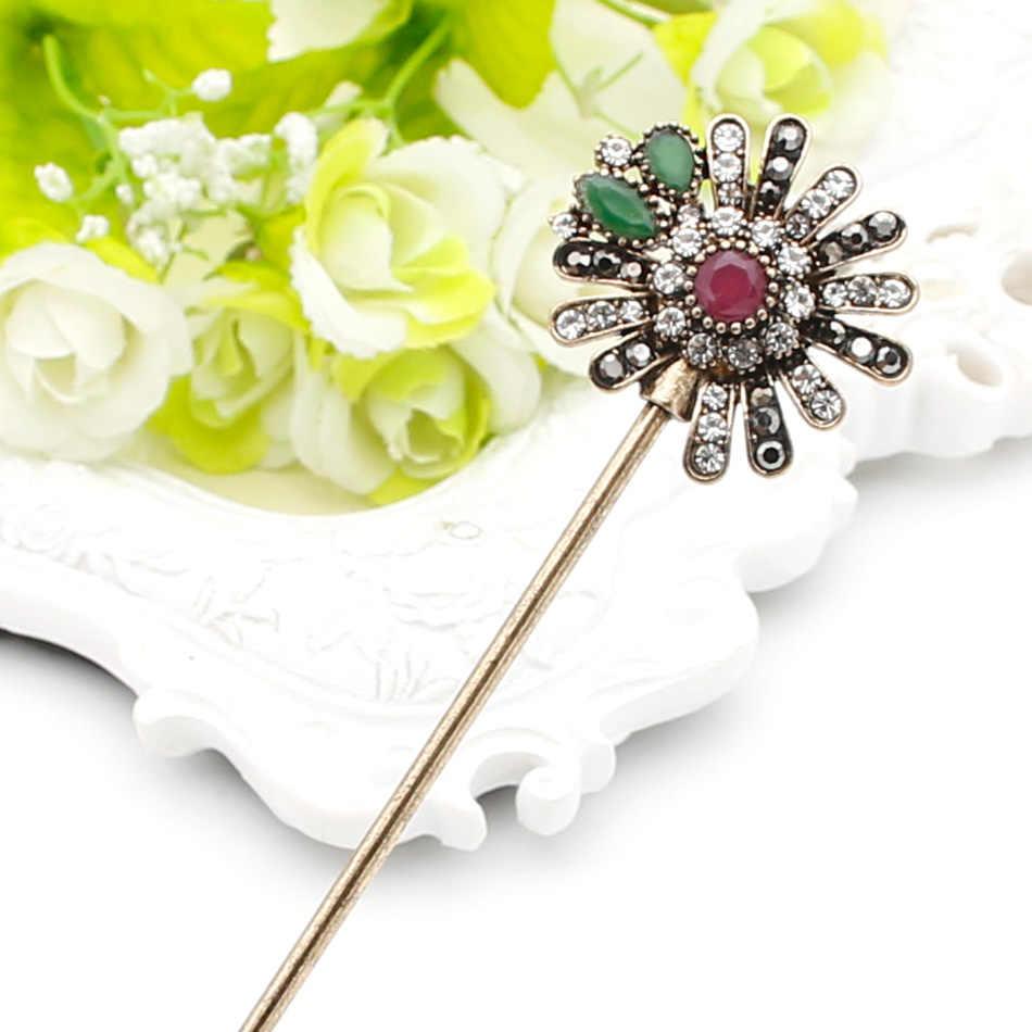 Модные турецкие женские цветочные палочки для волос, аравийская смола, ювелирное изделие в виде заколки, античный золотой цвет, индийская Расческа для невесты, плотная застежка для волос