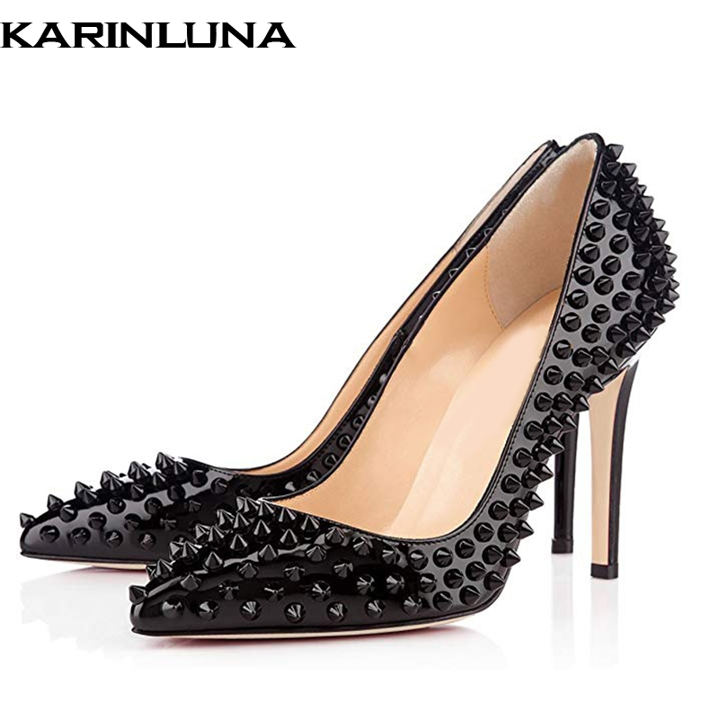 12 Sexy Bombas Alto De Del Puntiagudo Mujeres Dedo Cm Las Tacón Karinluna  Black Zapatos La 2019 Pie Marca Plus Más Heels 45 Diseño Fiesta Remaches  Mujer ... d72dd708bbe0