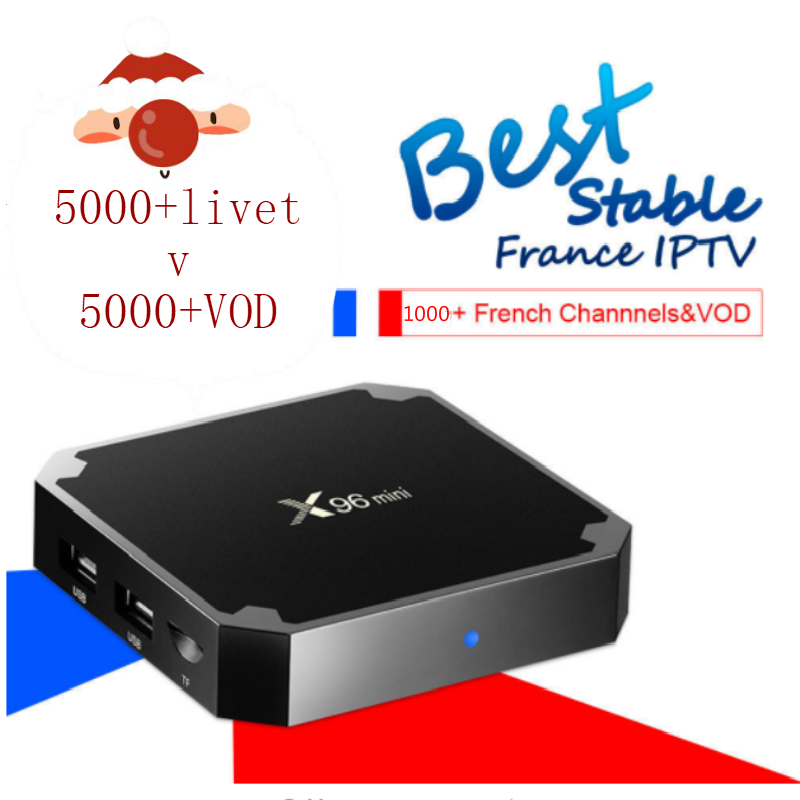 Box X96 mini Android TV Box with 7000+iptv abonnement 1 année France Arabic Africa Morocco Smart Android Box iptv Spain Portugal