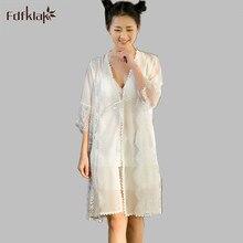 Высокое качество Летний халат сексуальные халаты для Для женщин с v-образным вырезом ночная рубашка комплекты кружевной халат набор розовый/белый E1218