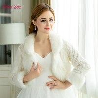 TaooZor Freies Verschiffen Klassisches Design Warme Kunstpelz Braut Wraps Langarm Winter Brautzusatz Hochzeit Für Frauen