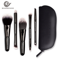 Sy 5Pcs Studio Makeup Brushes Synthetic Natural Hair Conveniently Portable Travelling Make Up Brush Set A8