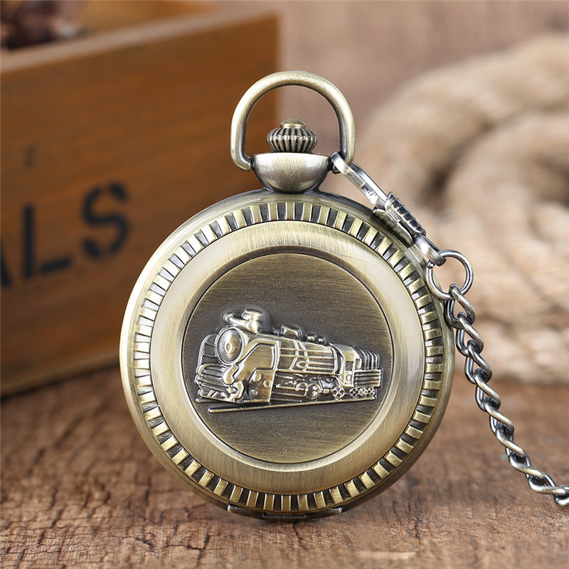 Vintage Bronze Train Locomotive Quartz Pocket Watch Creative Green Dial Men Women Pendant Gift with Necklace Fob Chain Watches bronze quartz pocket watch old antique superman design high quality with necklace chain for gift item free shipping