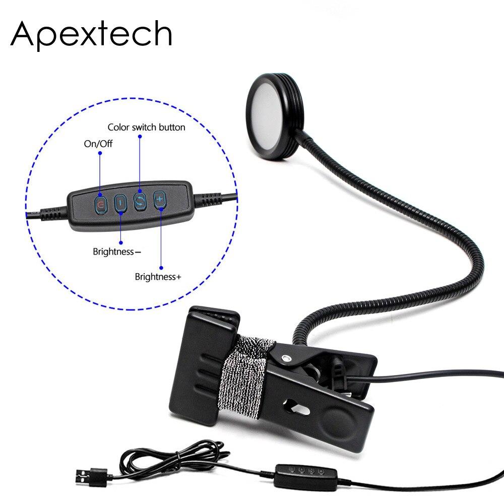 Apextech Бесплатная гибкий светодиодный настольная лампа затемнения 3 цвета регулируемый 5 Вт металлический зажим прикроватной тумбочке Лампы ...