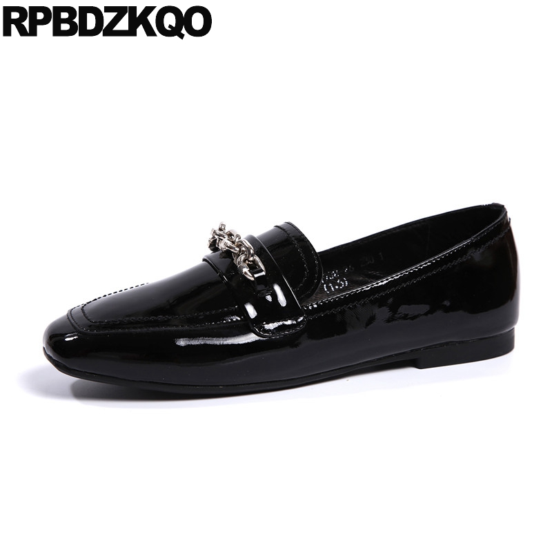 chinese black ladies beautiful flats shoes women metal size 35 red slip on comfortable chain square toe patent leather loaferschinese black ladies beautiful flats shoes women metal size 35 red slip on comfortable chain square toe patent leather loafers