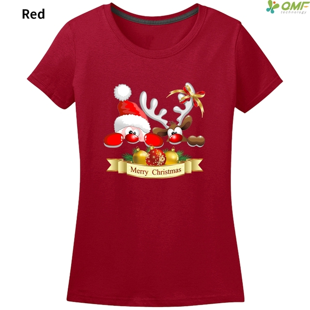 fc26ca42e534 Funny Santa Claus and Reindeer T-shirt Womens/Ladies Fashion Cartoon Merry  Christmas Print