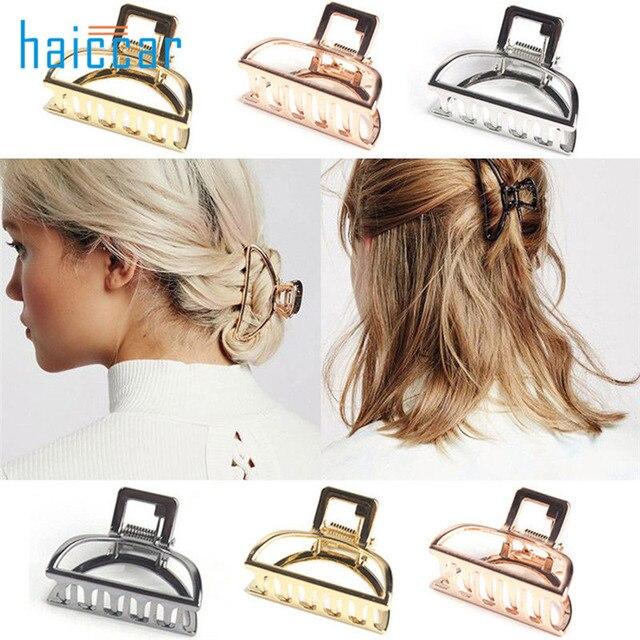 Las mujeres Metal geométrica de la garra del pelo de Color de pelo cangrejo Retro pelo Clips hacer accesorios para el pelo de gran tamaño horquilla 40 # dropship