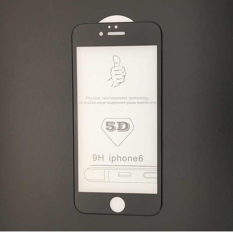 Protector de pantalla curvado 5D para iPhone 7 6 Plus película de cubierta completa de borde 5D para iPhone 6S 7 Plus película de vidrio templado ultrafina
