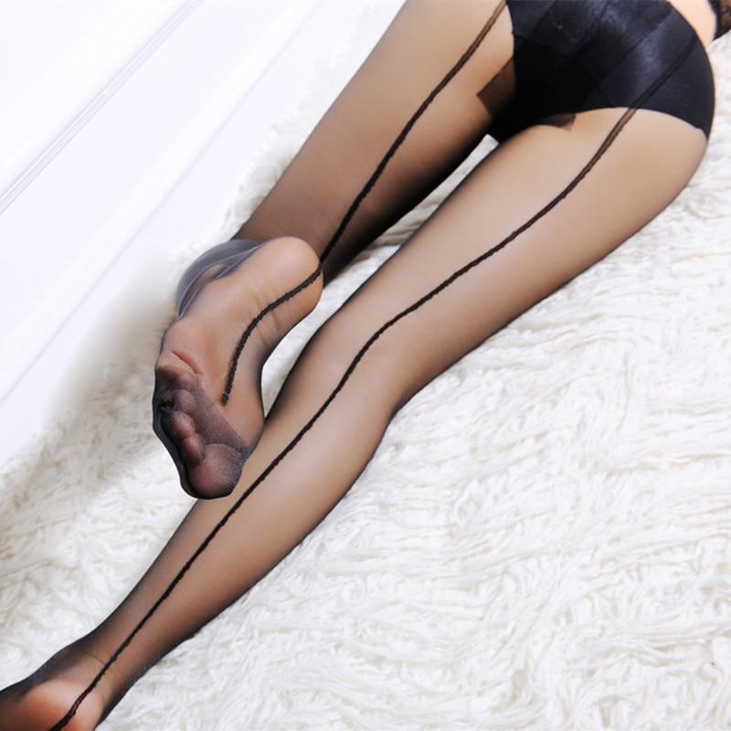 Для женщин задний шов сексуальные Чулки для женщин женские черной кожей бедра Чулки ультра тонкие прозрачные колготки ...