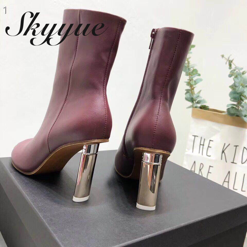 SKYYUE Genuine Leather Famous Branf Genuine Leather Sexy Pointed Toe Cool Boots Metal HIgh Heel Motorcycle Boots Shoes Women 2017 free genuine leather motorcycle boots biker shoes women pointed snow boots brand shoe famous designer woman flats