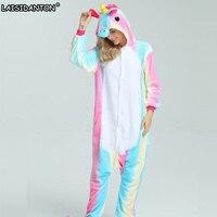 LAISIDANTON New Rainbow Unicorn Pajamas Sets Flannel Unisex Adult Pijama De Unicornio Cosplay Costume Pyjamas Women